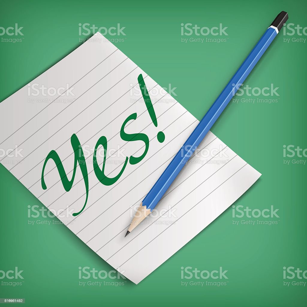 Yes sign on a piece of paper vector art illustration
