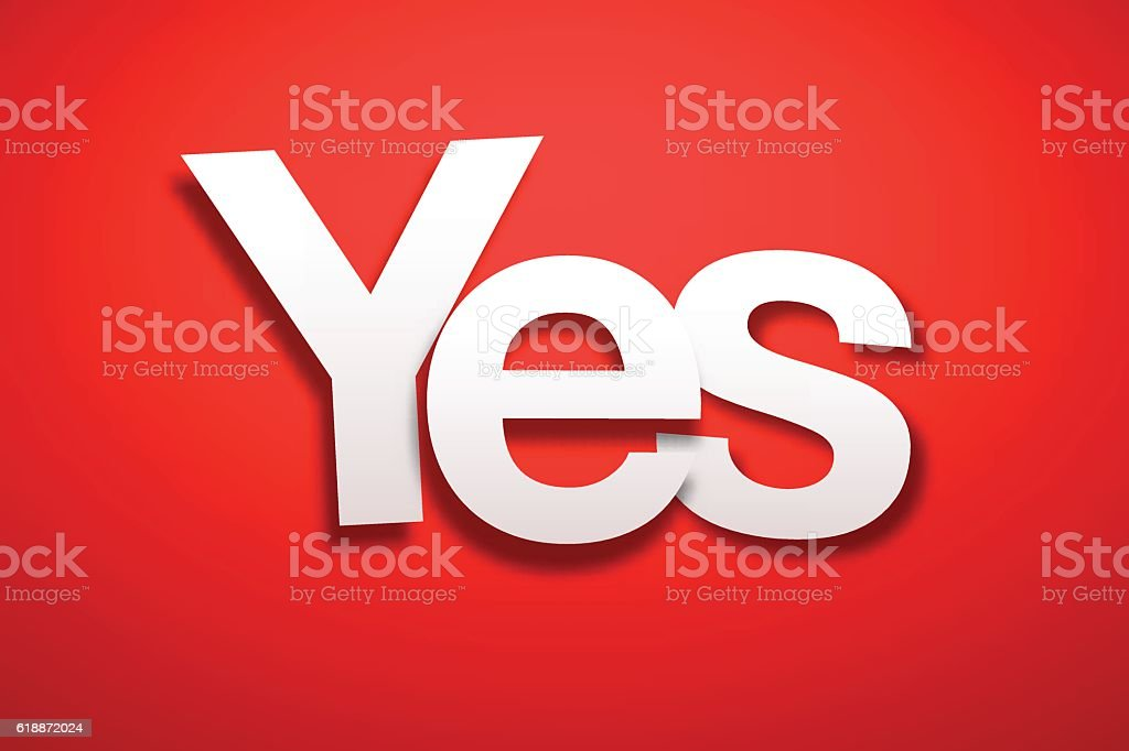 Yes Sign with Red Background - Paper Font vector art illustration