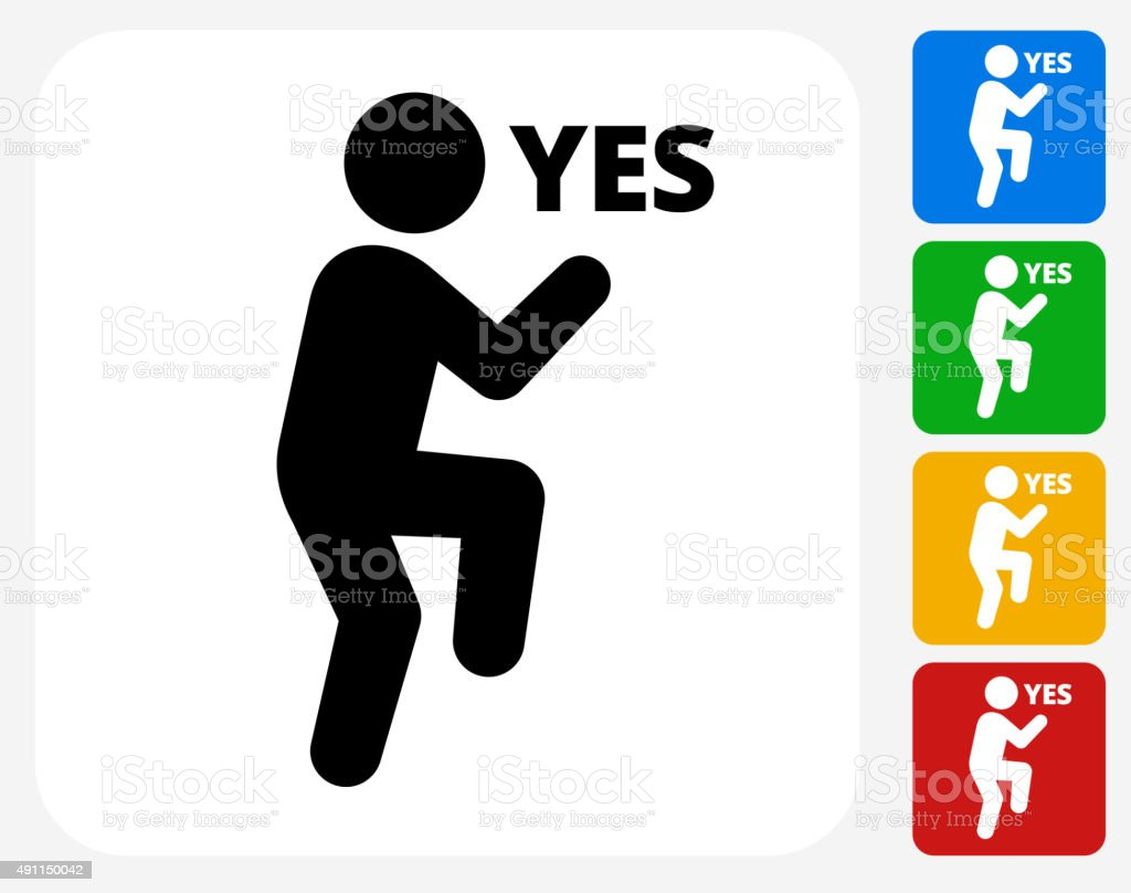 Yes Stick Figure Icon Flat Graphic Design vector art illustration