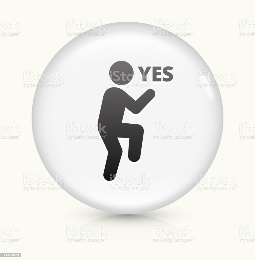 Yes Stick Figure icon on white round vector button vector art illustration