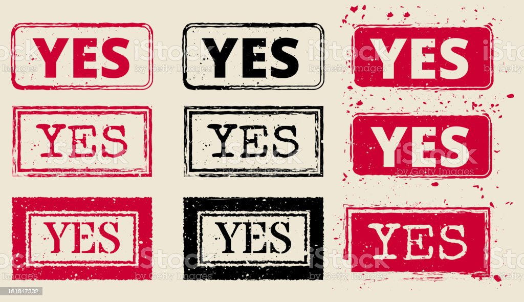 Yes Vector Rubber Stamp Collection vector art illustration