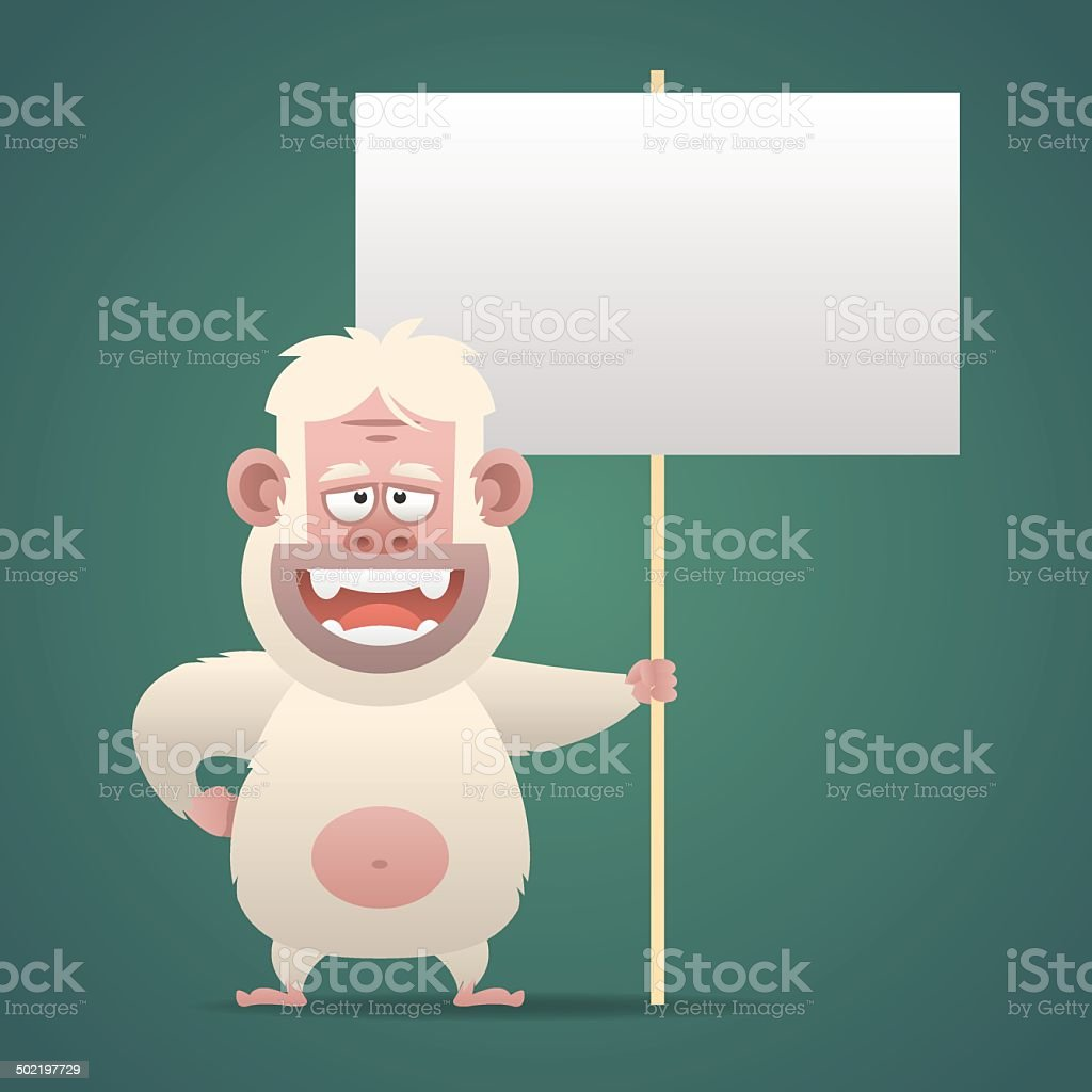 Yeti character holds empty banner sign vector art illustration