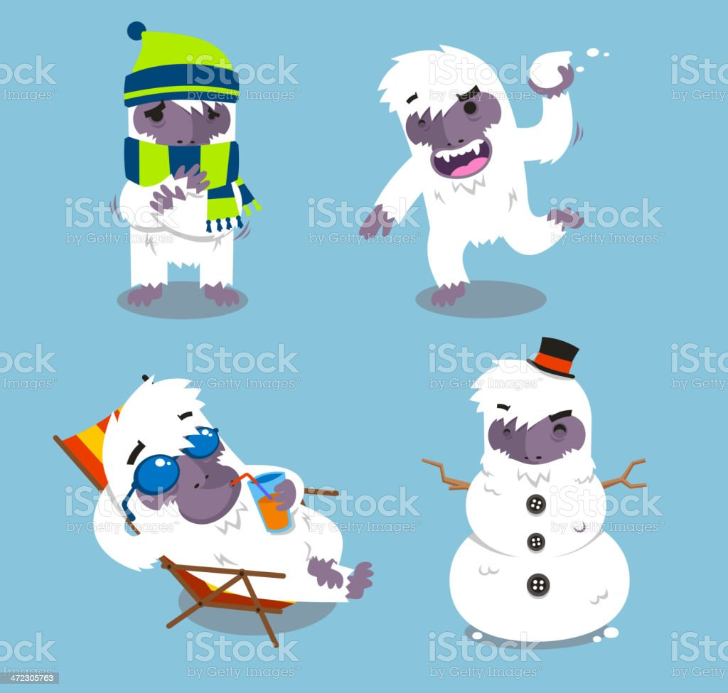 Yeti characters in different situations illustration set vector art illustration