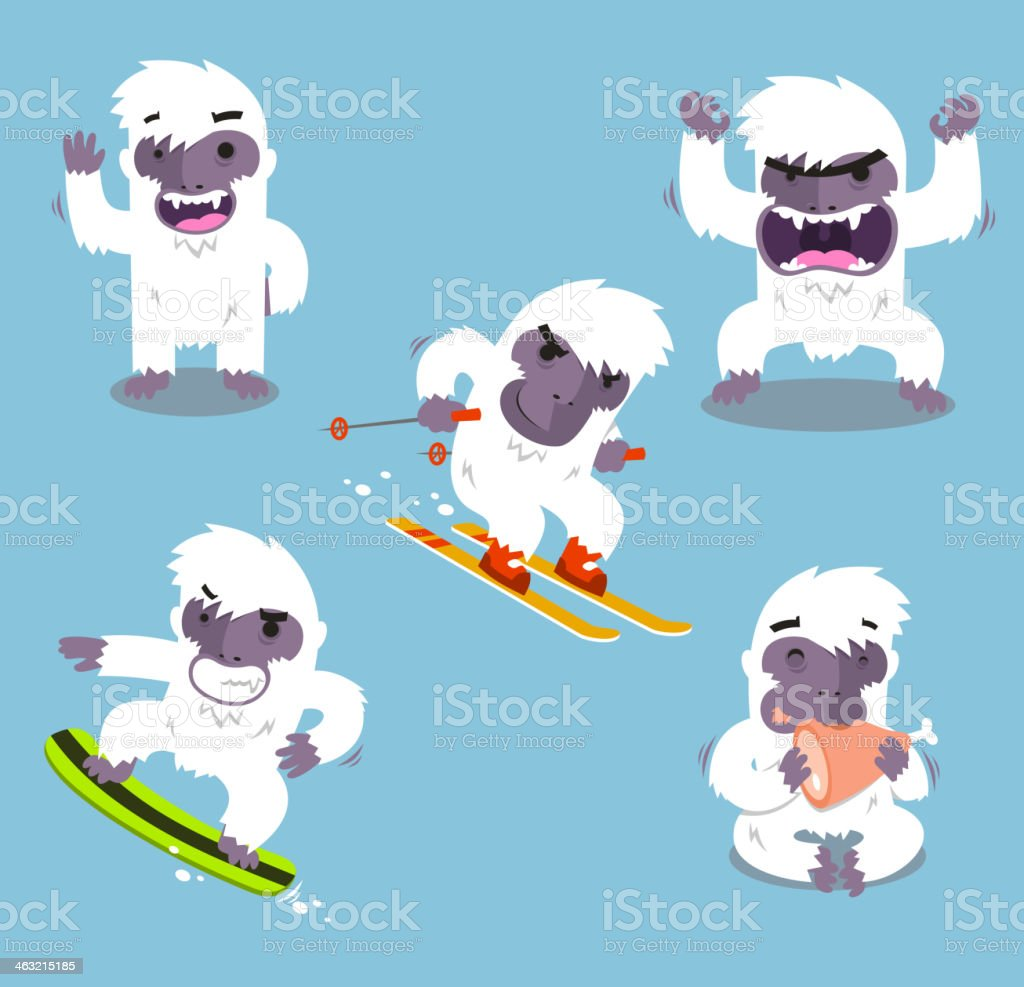 Yeti Cold Winter Set royalty-free stock vector art
