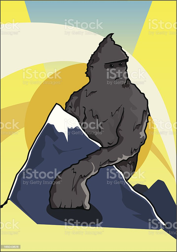 Yeti on the mountain royalty-free stock vector art