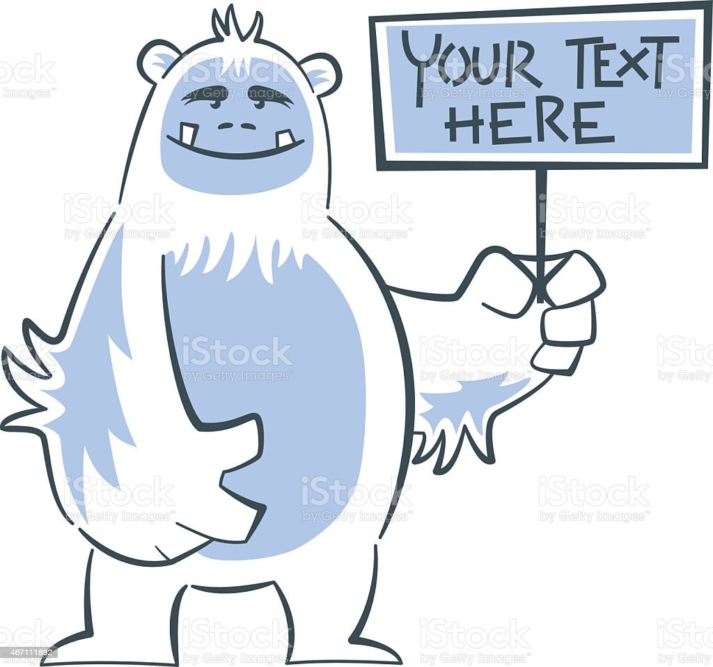 Yeti smiling and holding sign vector art illustration