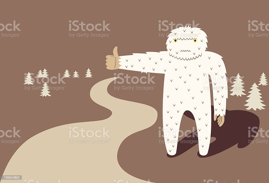 Yeti traveller vector art illustration