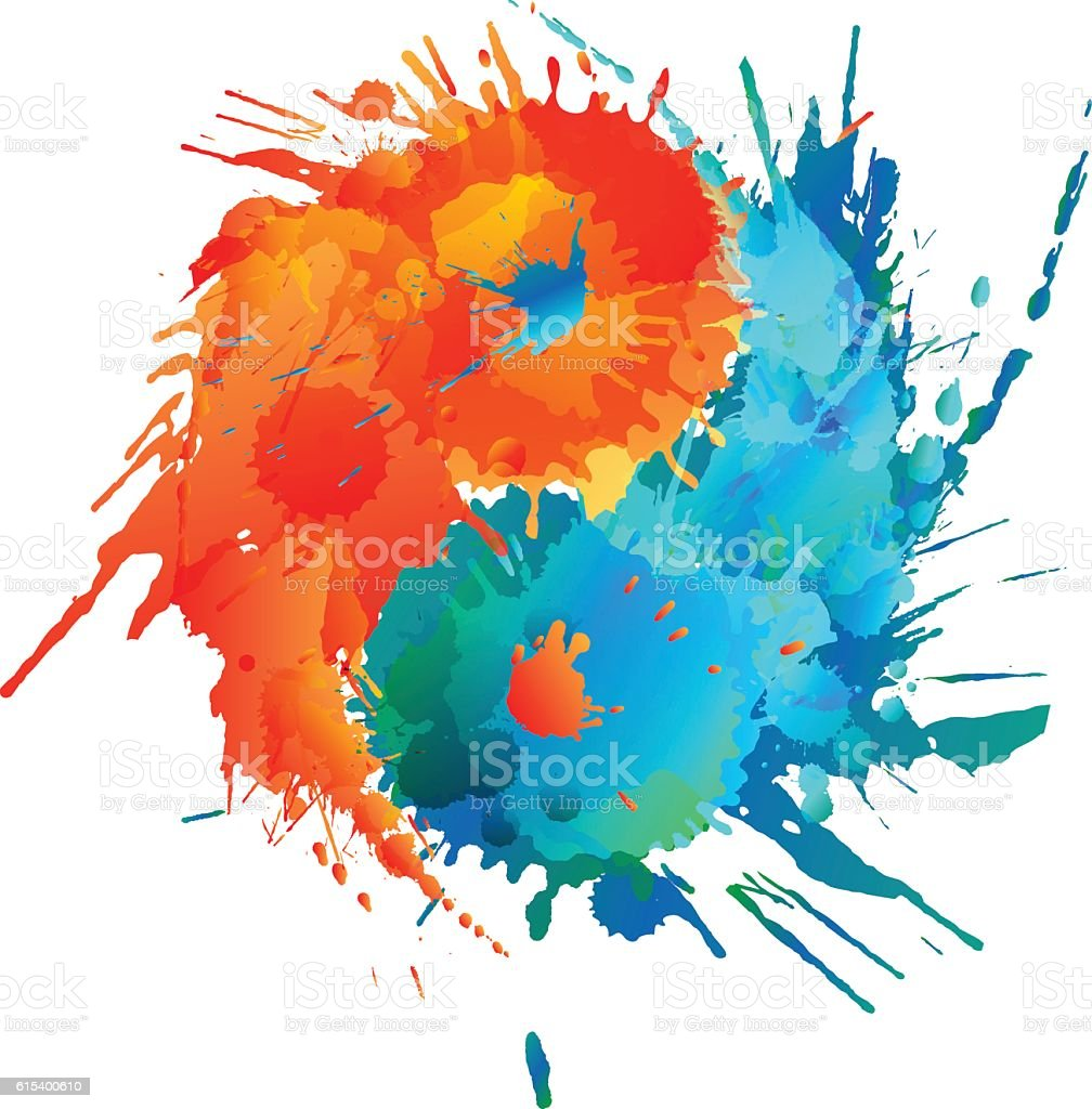 Yin and Yang made of colorful splashes vector art illustration
