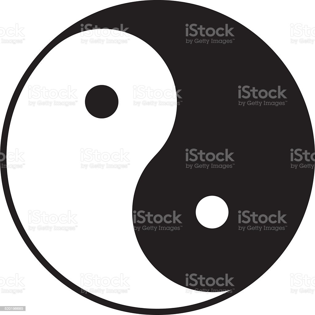 Yin and yang symbol in b/w (Chinese, Taoist symbol) vector art illustration