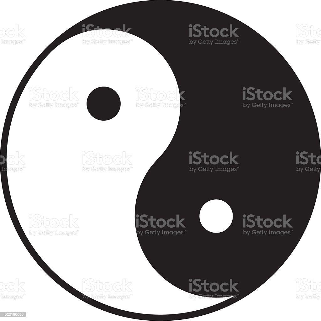 Yin and yang symbol in b/w (Chinese, Taoist symbol) vector art illustration