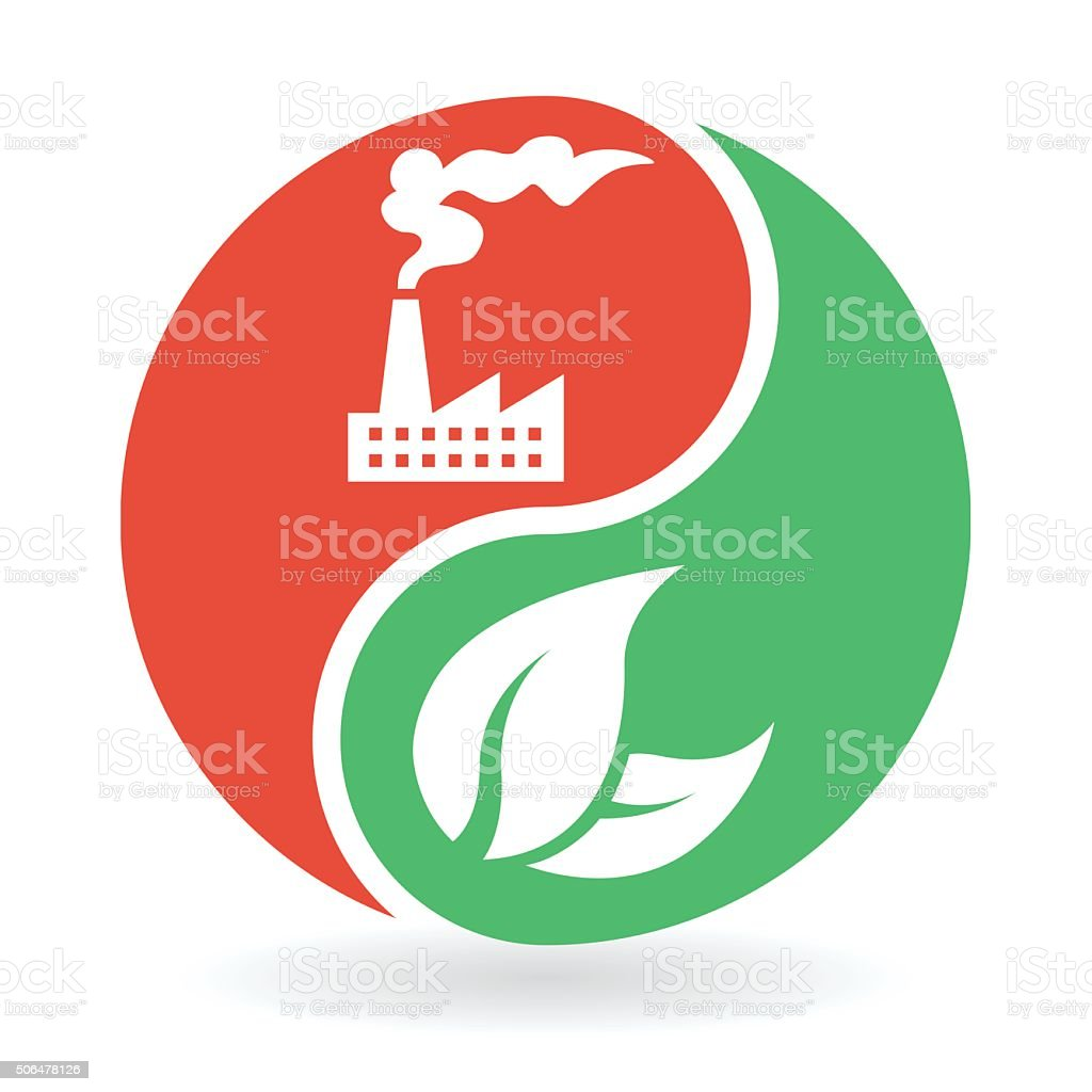 Yin Yang Concept - natural environment and industrial pollution vector art illustration