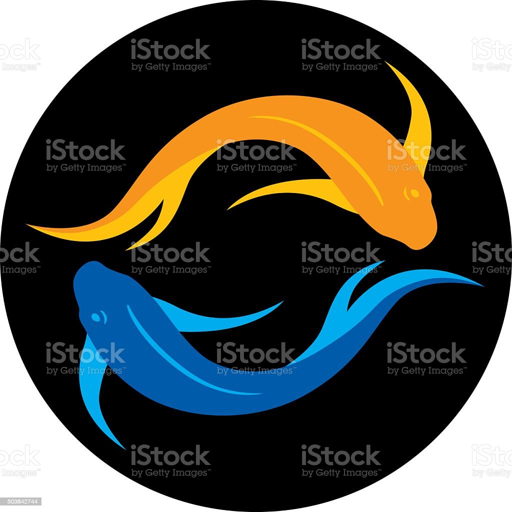 Yin Yang Fish vector art illustration