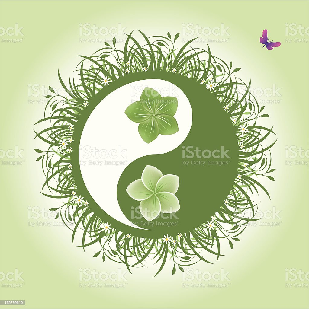 Yin Yang Flower Power royalty-free stock vector art