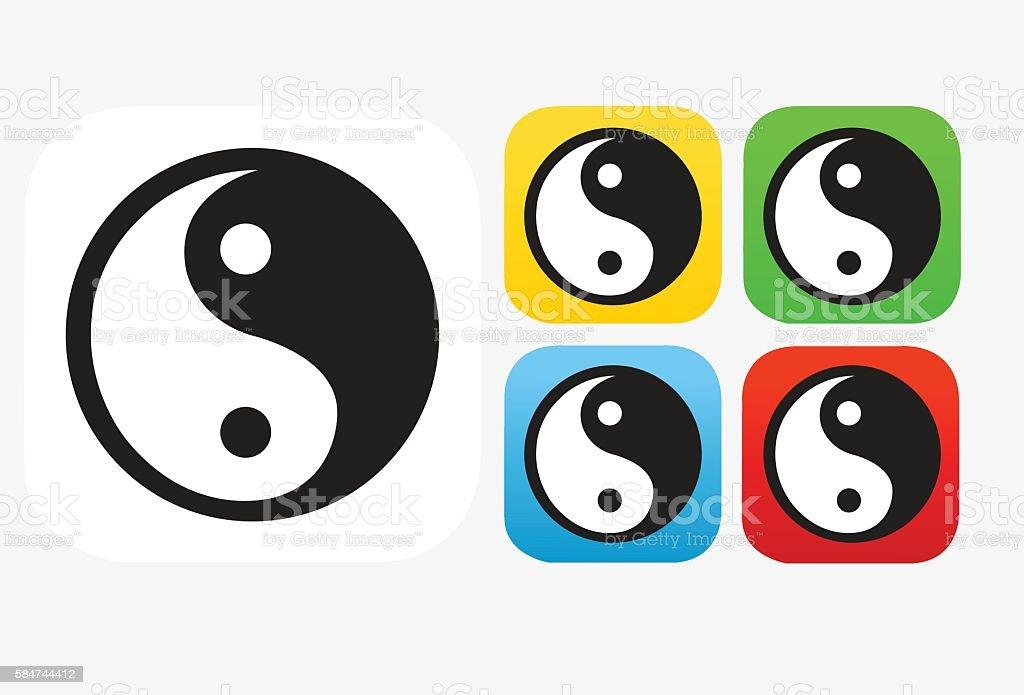 Yin Yang Icon Flat Graphic Design vector art illustration