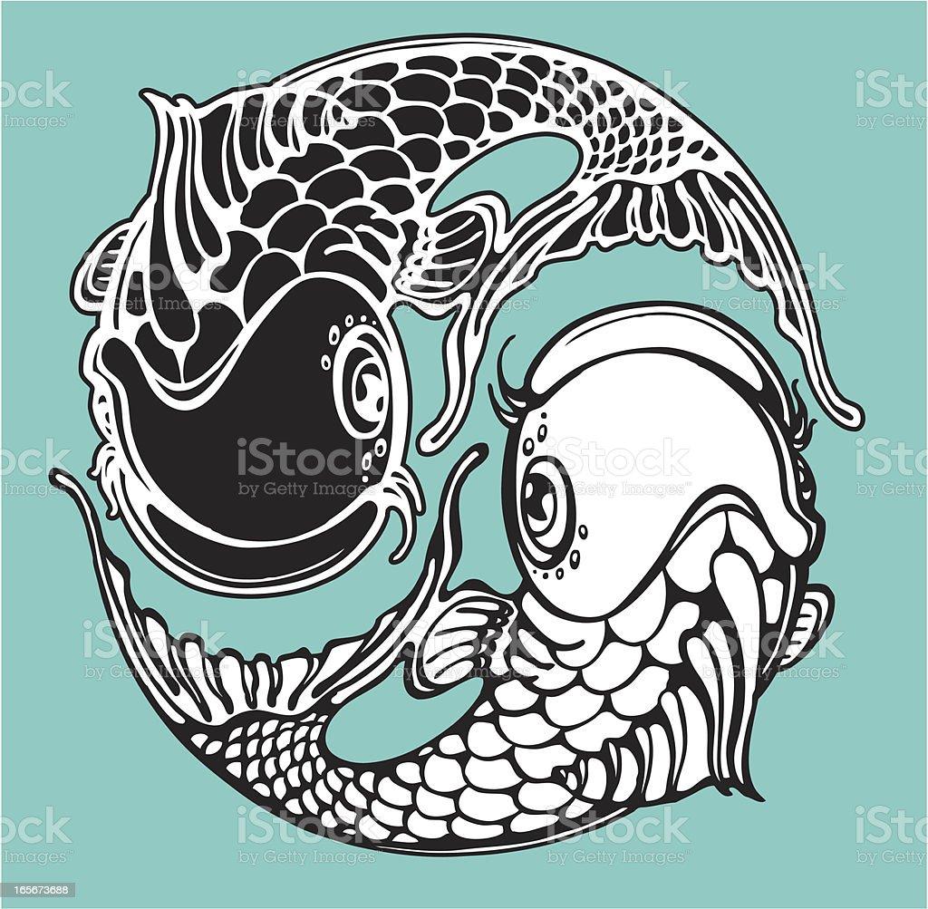 yin yang koi fish royalty-free stock vector art