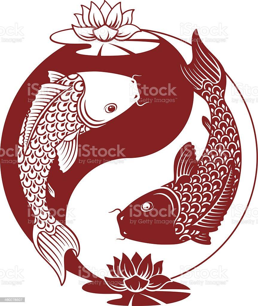 Yin Yang Koi vector art illustration