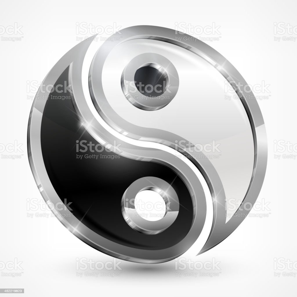 Yin yang metallic symbol royalty-free stock vector art