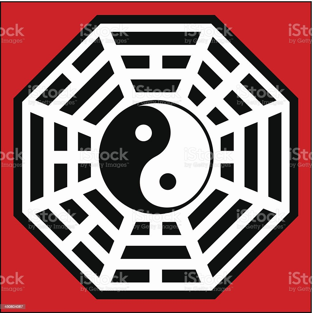 Yin Yang, Pakua, Bagua - Chinese Compass Feng Shui royalty-free stock vector art