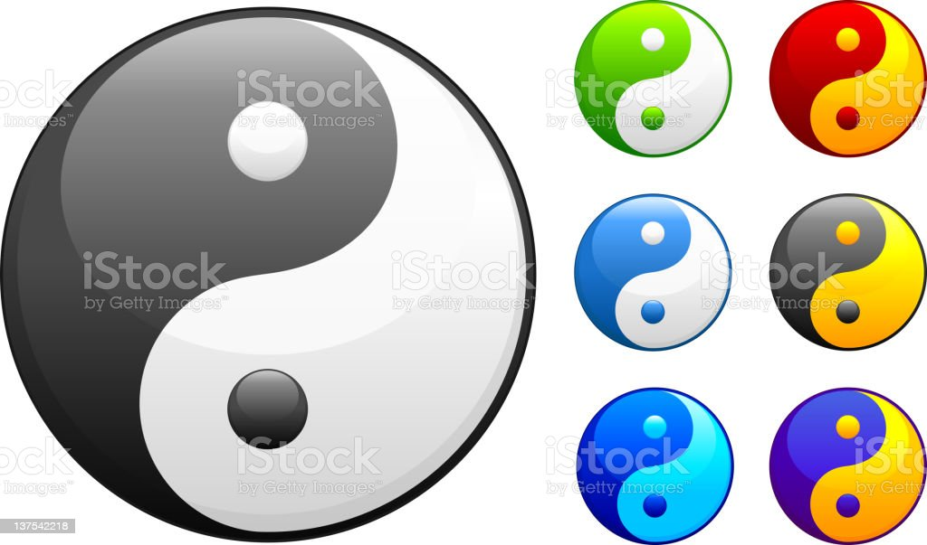 yin yang sign in 7 colors royalty-free stock vector art