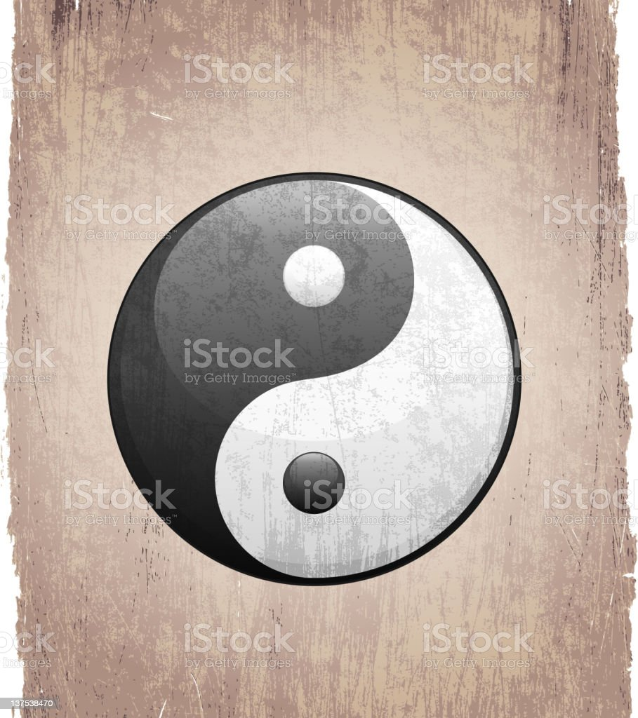 yin yang sign on royalty free vector Background royalty-free stock vector art
