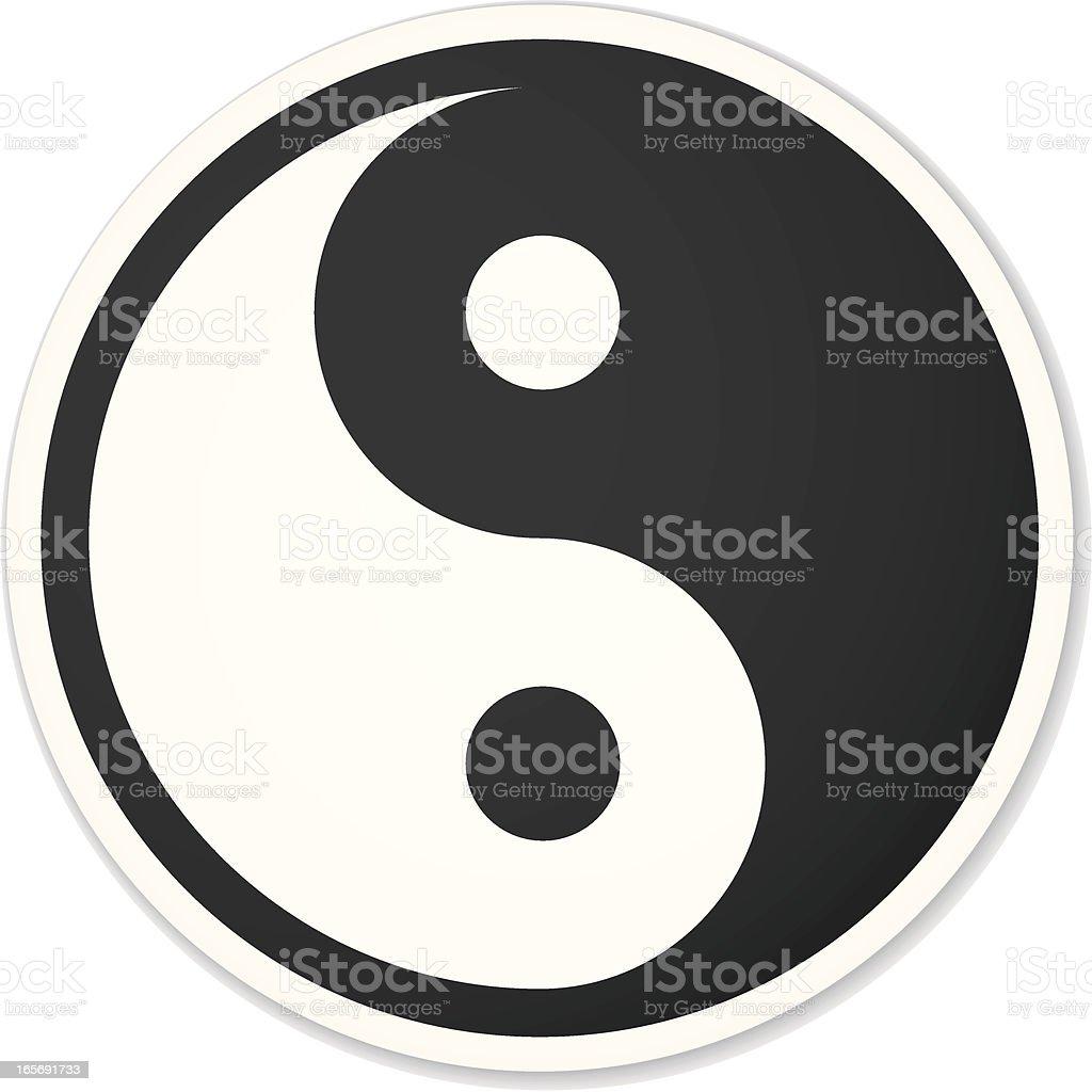 yin yang symbol black round sticker vector art illustration