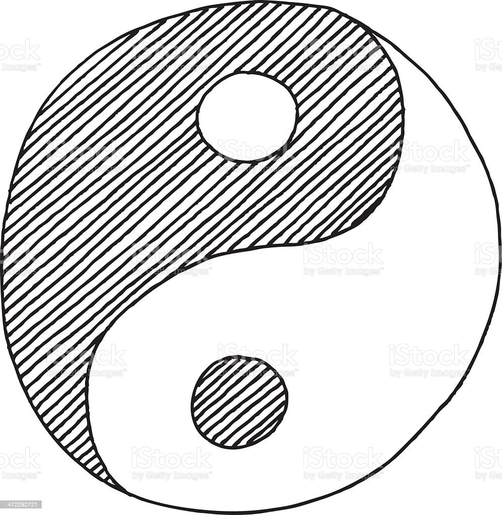 Yin Yang Symbol Drawing royalty-free stock vector art