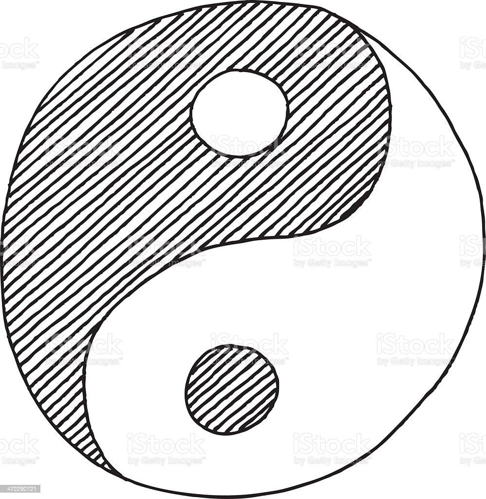 Yin Yang Symbol Drawing vector art illustration