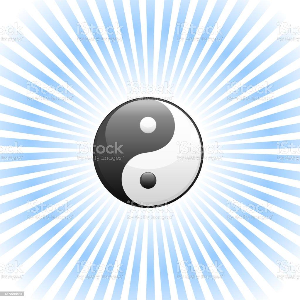 Yin Yang Symbol in a glow vector art illustration