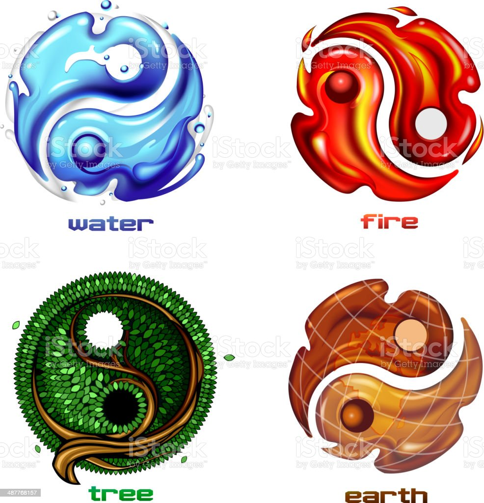 Yin yang symbol of earth, fire and water vector art illustration