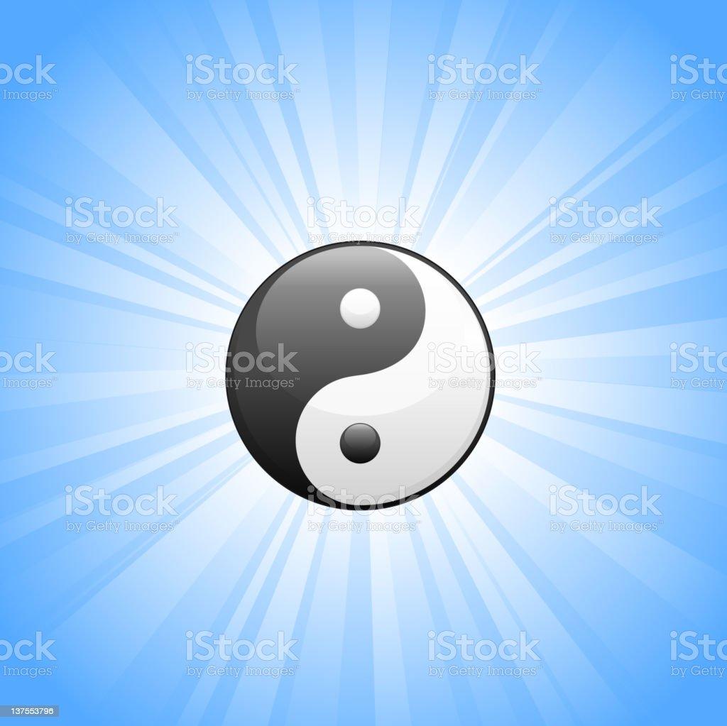 Yin Yang Symbol on glowing blue Background vector art illustration