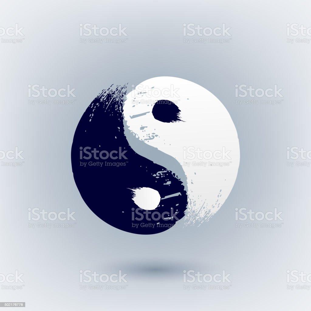 Yin Yang symbol painted with brush strokes vector art illustration