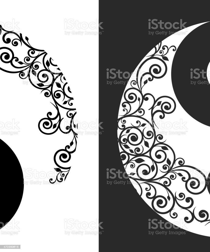 Yin yang two pattern symbol royalty-free stock vector art