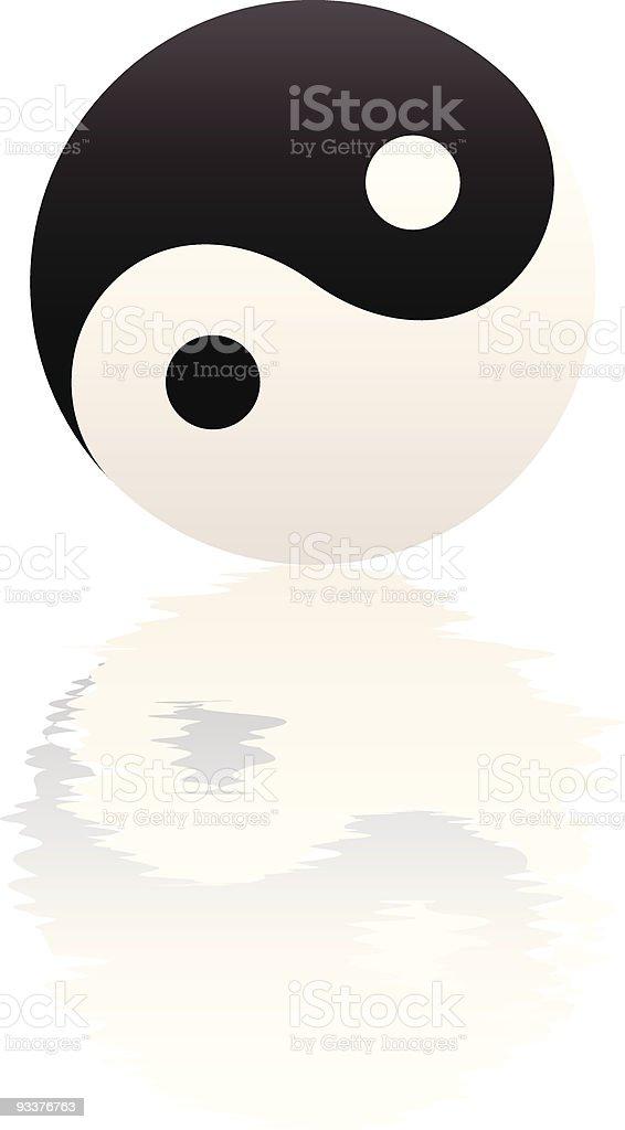 Yin Yang Water Ripple Reflection vector art illustration