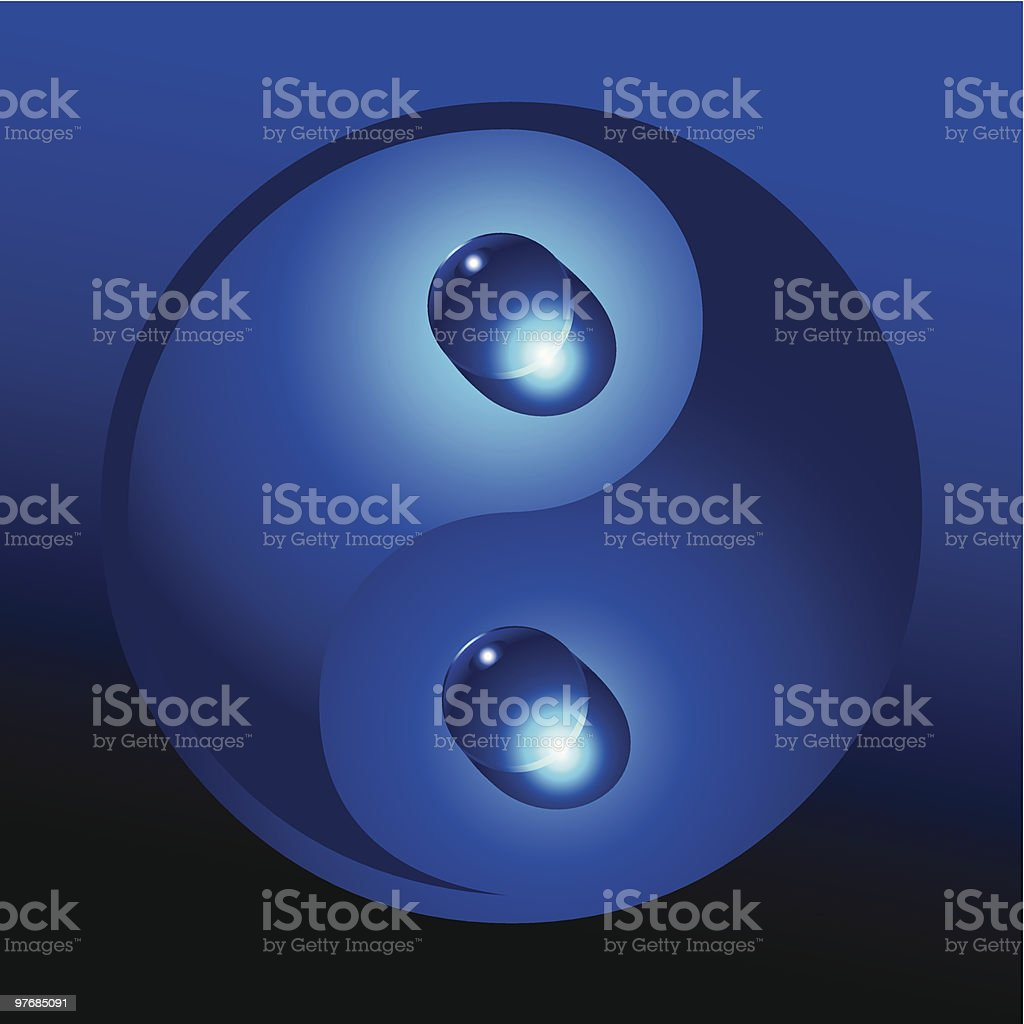 Yin yang with water drops royalty-free stock vector art