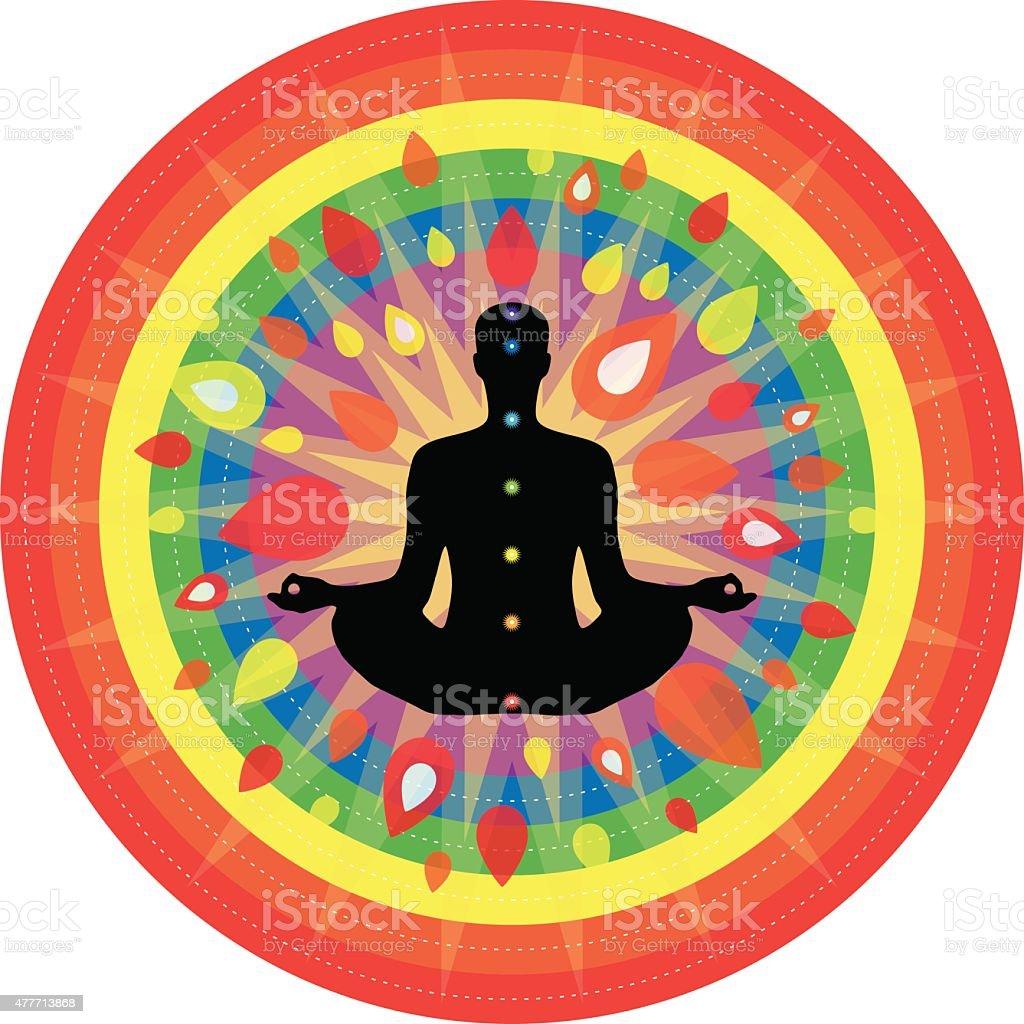 Yoga and meditation theme vector art illustration