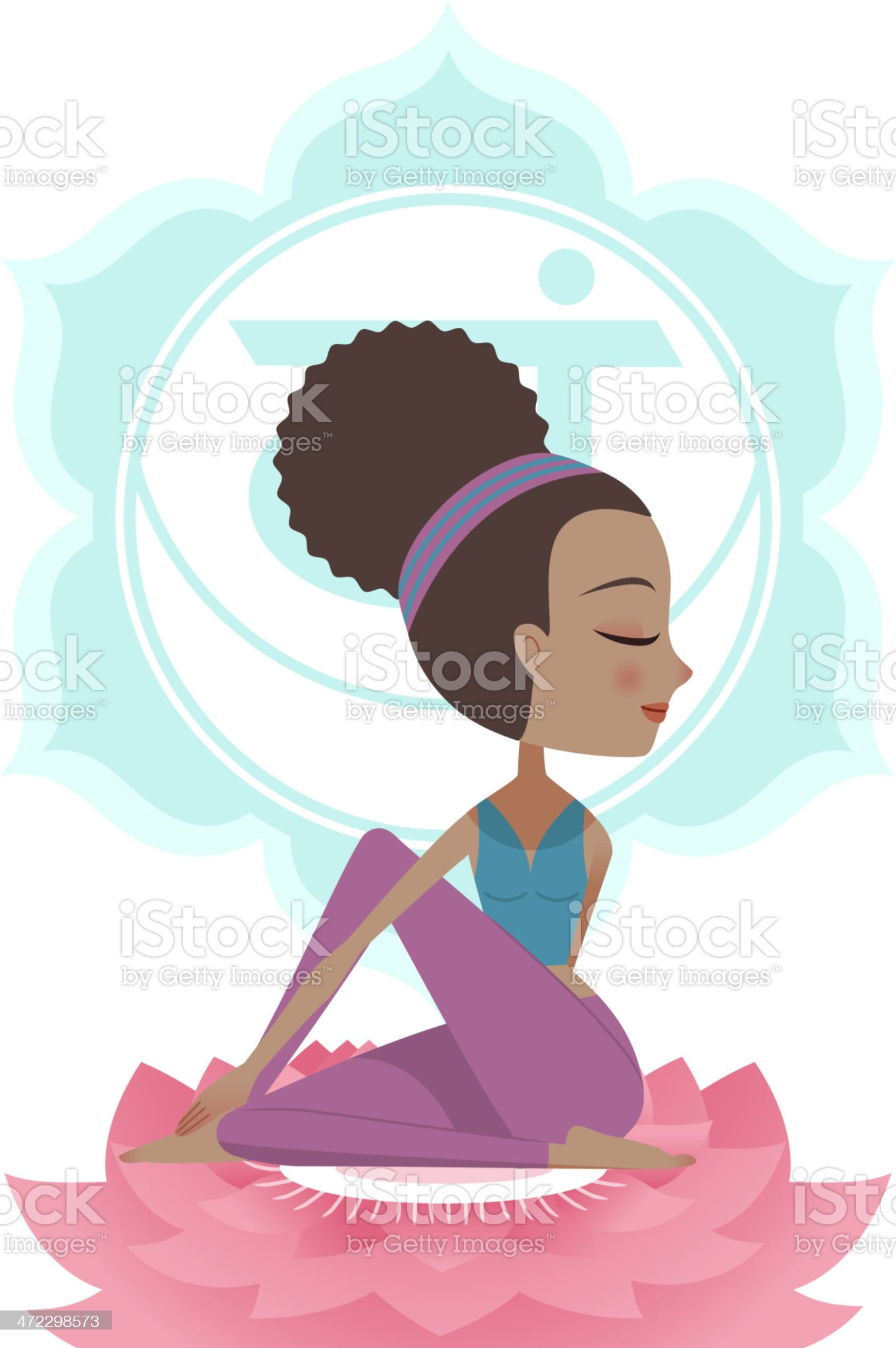 Yoga Asana Posture Practice with Svadisthana Chakra Symbol Mandala Backround royalty-free stock vector art