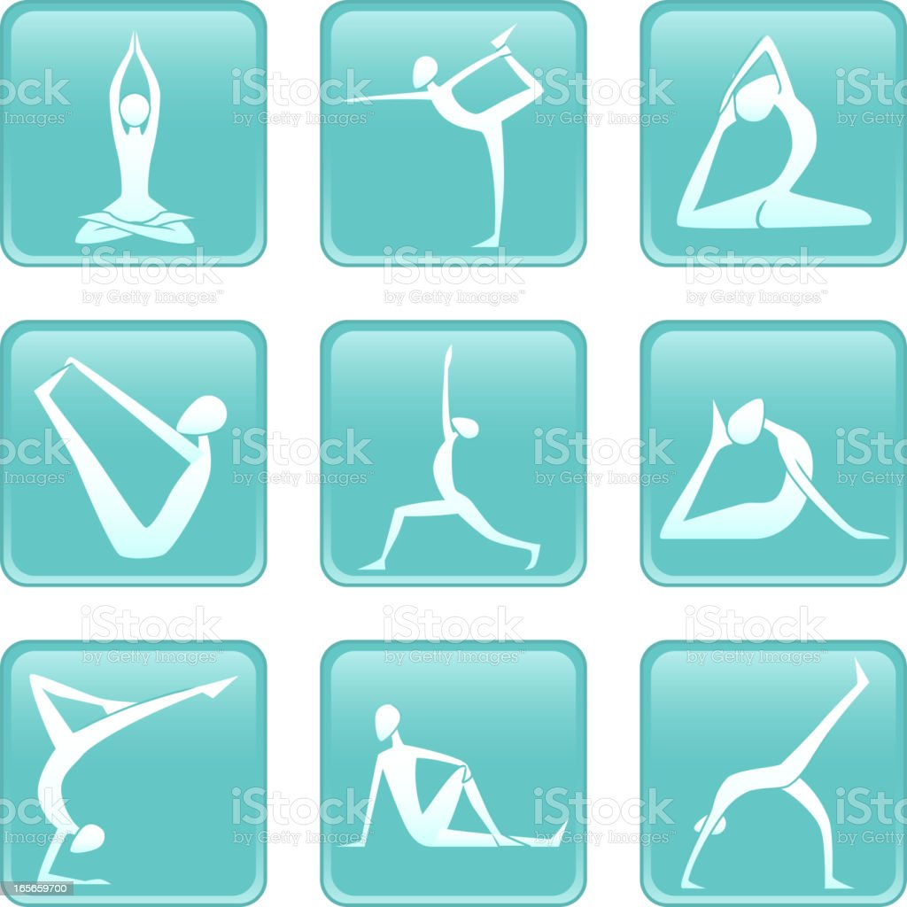 Yoga Asanas Asana yoguic positions icons vector art illustration