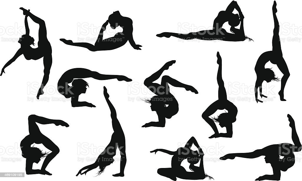 Yoga asana's silhouettes vector art illustration