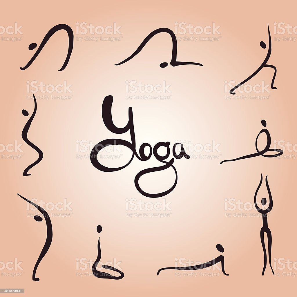 yoga asanas simple vector art illustration