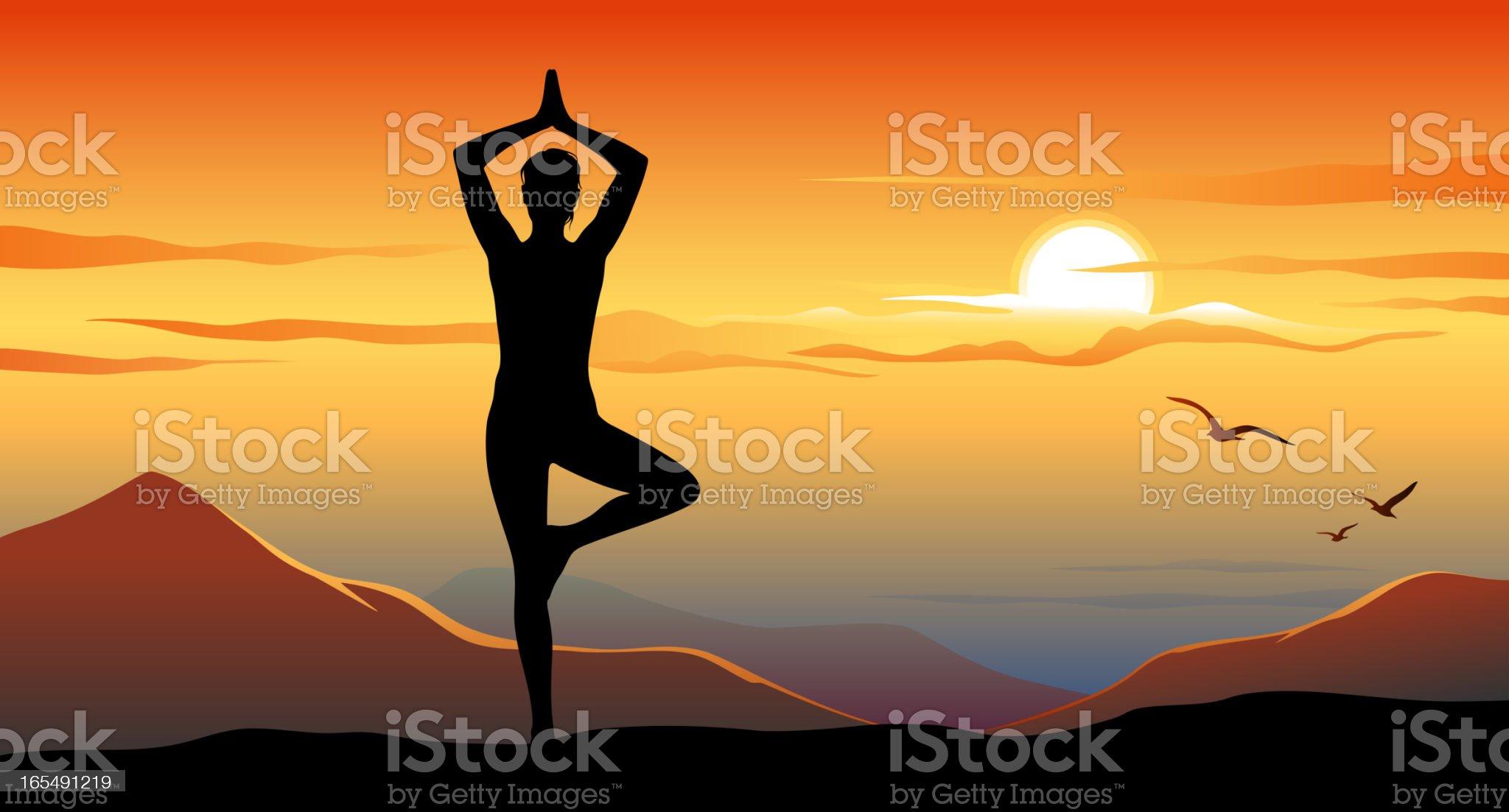 Yoga at sunset royalty-free stock vector art