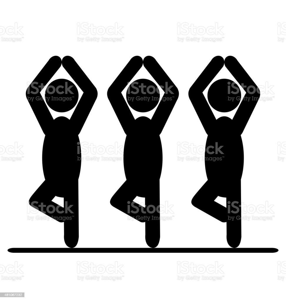 Yoga balance asana people pictogram flat icon isolated on white vector art illustration