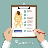 Yoga Benefits Infographic in flat design. Clipboard in doctor hand.