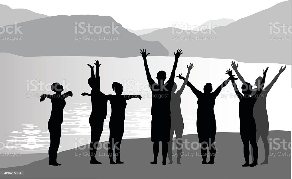Yoga By The Lake Silhouette vector art illustration