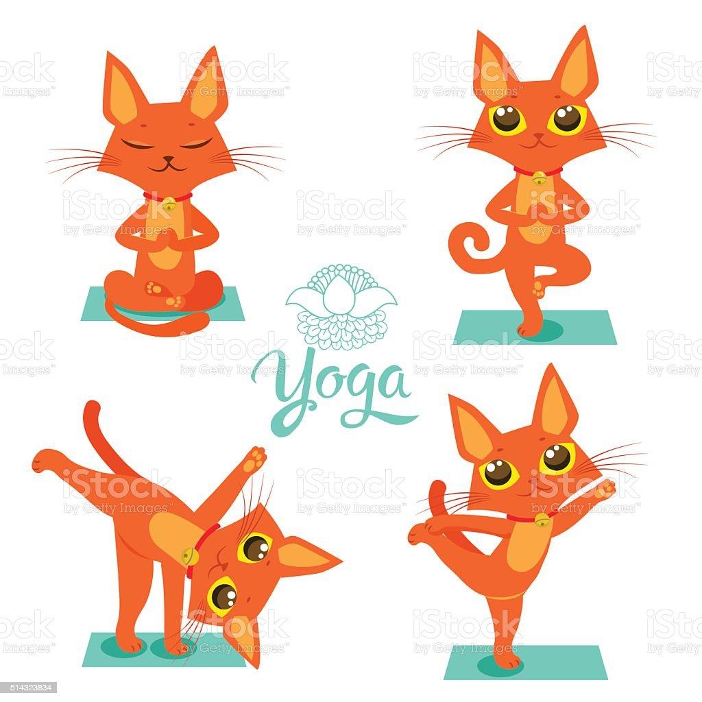 Katze Pose Yoga Yogakatze Vektor Yoga Katze Meme Vektor ...
