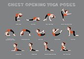 Yoga Chest Opening Poses Vector Illustration
