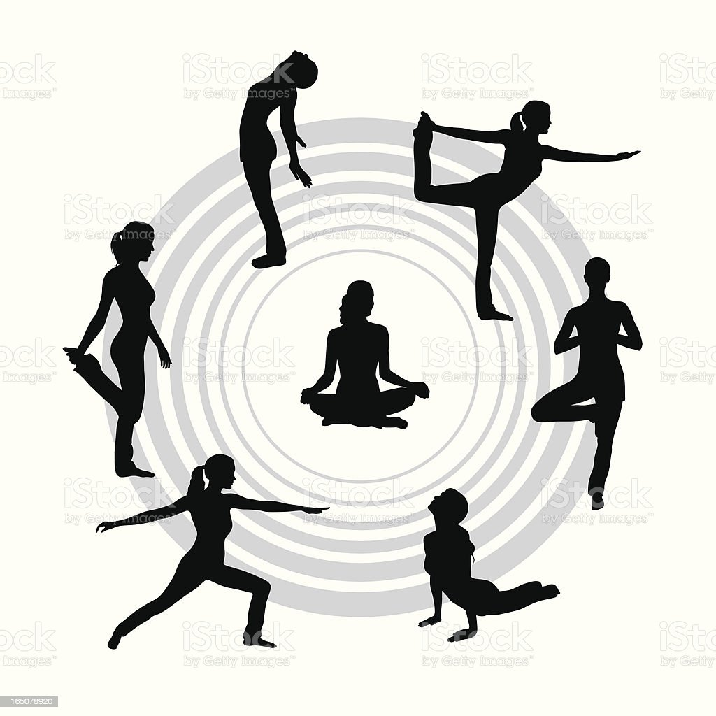 Yoga Circle Vector Silhouette royalty-free stock vector art