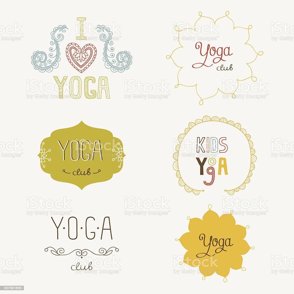 Yoga Club Logo Set vector art illustration