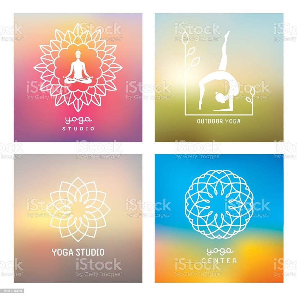 Yoga design elements and emblems vector art illustration