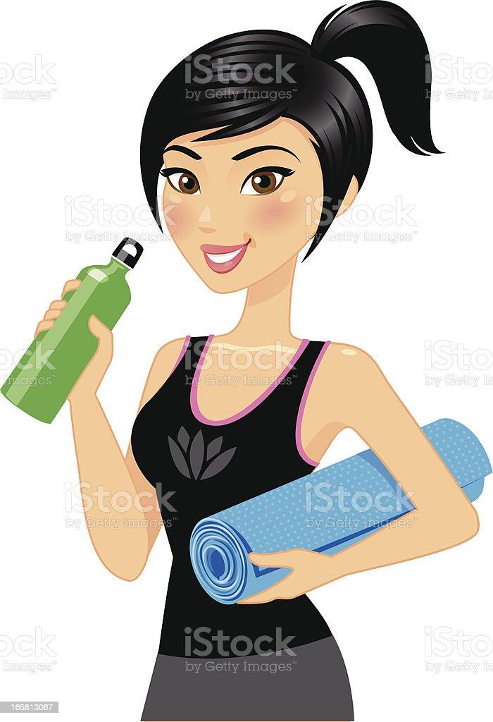 Yoga girl illustration with a yoga mat royalty-free stock vector art