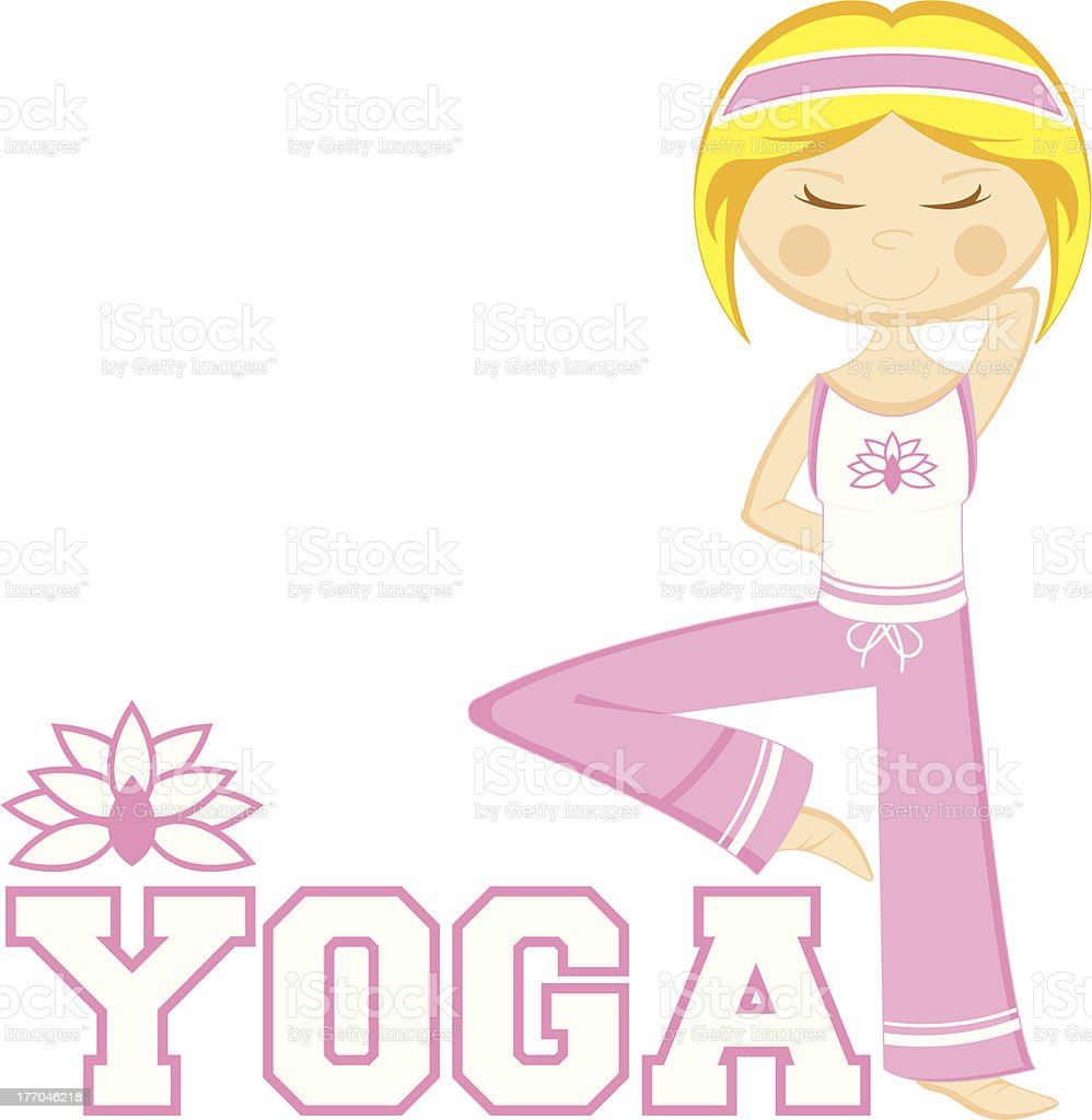 Yoga Girl Learn to Read Illustration royalty-free stock vector art